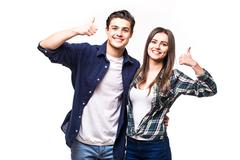 Beautiful couple with okay sign on white background Stock Photos