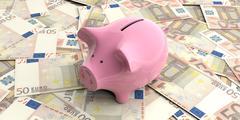 Piggy bank saving keyboard money euro background Stock Illustration