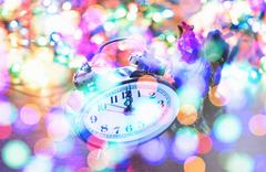 New Year tinsel hours Stock Photos