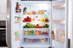 Refrigerator With Fruits And Vegetables Stock Photos