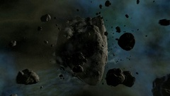 Asteroid traveling in space - slow camera fly trough in 4k quality 3d animation Stock Footage