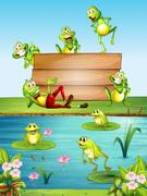 Wood sign with many frogs by the pond Stock Illustration