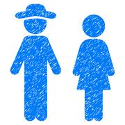 Gentleman And Lady Grainy Texture Icon Stock Illustration