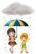 Two kids with umbrella and raincoat in the rain Stock Illustration