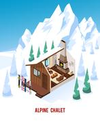 Isometric Chalet With Fireplace In Mountains Piirros
