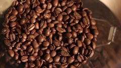 Coffee grinder machine grinding  coffee Stock Footage