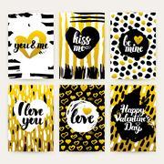 Valentines Day Gold Trendy Brochures Stock Illustration
