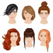 Women Hairstyle Ideas 6 Icons Collection Stock Illustration