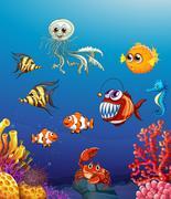 Scene with sea animals under the ocean Piirros