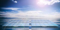 Solar panel water sky background Stock Illustration