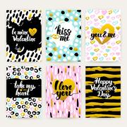 Valentine Day Trendy Hipster Posters Stock Illustration