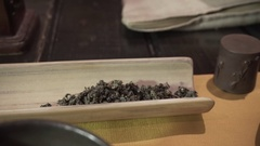 Tea ceremony. Brewing tea in the style of the Tang dynasty. Chinese tea Stock Footage