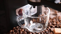 Cup of strong black coffee espresso Stock Footage