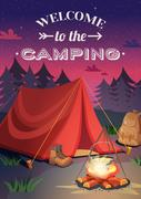 Welcome To Camping Poster Stock Illustration