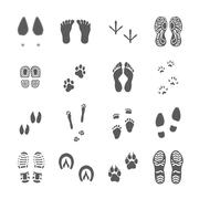 Various Footprints Set Black On White Stock Illustration