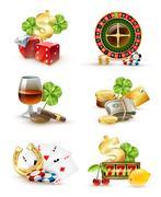 Casino Symbols Attributes 6 Icons Set Stock Illustration