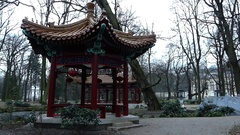 A Chinese Alcove With Red Lanterns in a Park. Stock Footage