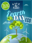 Earth Day Ecology Awareness Poster Stock Illustration