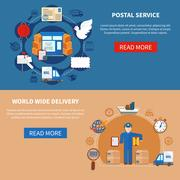Postal Service Flat Style Banners Stock Illustration