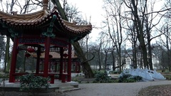 Two Chinese Alcoves With Red Lanterns in a Park Stock Footage