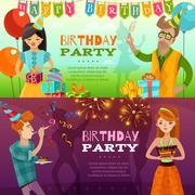 Birthday Party 2  Festive Horizontal Banners Stock Illustration