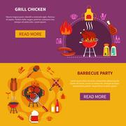 Grill Chiken On Barbecue Party Flat Piirros