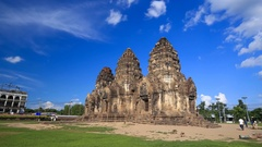 Phra Prang Sam Yot temple, ancient architecture in Lopburi, Thailand Stock Footage
