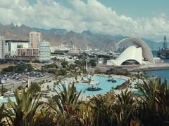 Santa Cruz, Tenerife, Canary, Spain, 2016 november. Auditorio de Tenerife Stock Footage