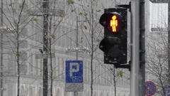 A Retro Traffic Light With Orange Stanging Person. Stock Footage