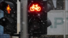A Retro Traffic Light With Orange Symbols Stock Footage