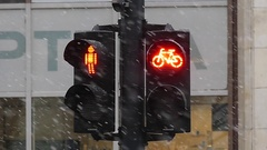 A Retro Traffic Light With Red Bicycle Sign Stock Footage