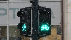 A Retro Traffic Light With Green Bicycle Sign. Slow Motion. Stock Footage
