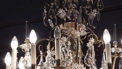 A Fabulous Crystal Candlestick Chandelier Stock Footage