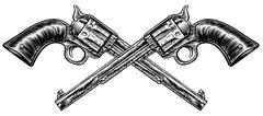 Crossed Pistol Guns Stock Illustration