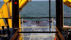 View from the bridge deck of the tug. Daytime. Swell on the Baltic Sea Stock Footage