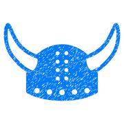 Horned Helmet Grainy Texture Icon Stock Illustration