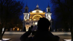 An Orthodox Church and a Girl With a Camera Making Photo. Stock Footage