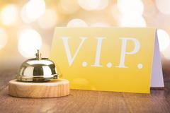 Service Bell With Vip Card In Hotel Stock Photos