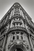 New York building - Facade and architectural details - Black & White Stock Photos