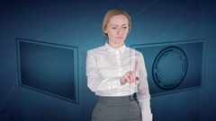 Business woman makes a financial analysis on touch screens. Bitcoin Arkistovideo
