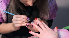Nail care in nail saloon Stock Footage