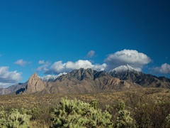 Time lapse of clouds over a scenic desert mountain range in winter Stock Footage