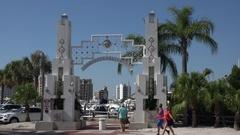 People visit Sarasota Bayfront, Florida, USA Stock Footage