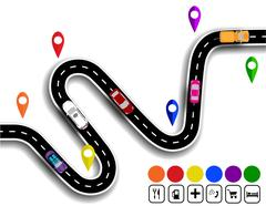 Winding road with signs. The movement of cars. The path specifies the navig.. Stock Illustration