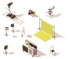 Vector isometric low poly video equipment set Stock Illustration