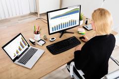 Businesswoman Analyzing Graph On Computer Stock Photos