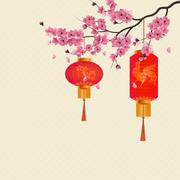 Two red Chinese lanterns on a branch of cherry blossoms with purple flowers.. Stock Illustration