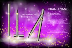 Glamorous eyeliner pen and brow pencil on the  sparkling effects Stock Illustration