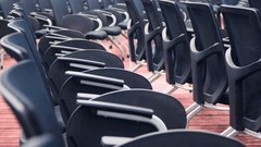 View of empty cinema hall with comfortable leather seats Stock Footage