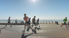 Time-lapse of people running in opposite directions. Stock Footage